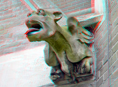 gargoyle Bonaventurakerk 3D (wim hoppenbrouwers) Tags: 3d anaglyph gargoyle stereo neogothic rkkerk redcyan spuwer stereopicture anaglyf bonaventurakerk gargoylebonaventurakerk3d bonaventurakerkwoerden