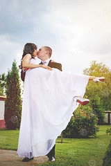 Forever... (BigLike Images) Tags: wedding woman white man cute green love nature up garden outdoors holding kiss couple long dress arms legs marriage romance together romantic marry