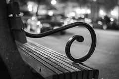 the Beauty of Simplicity (_Ruby Huang_) Tags: street white canada black west beauty metal night vancouver bench lens handle 50mm prime lights design coast harbor nikon downtown moments bc random bokeh harbour britishcolumbia memories simplicity railing coal simple discovery d800