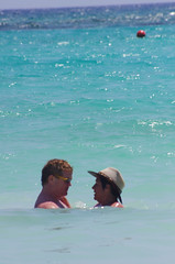 Eyes for Each Other (rosaandjohnmalone) Tags: ocean family sea playing beach wet water swimming swim john mexico fun play maya rosa palace resort enjoy cancun caribbean malone barcelo