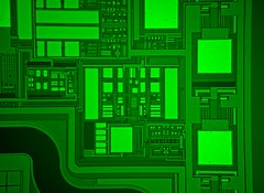 Wafer City (nmandic78) Tags: ic silicon microscope circuit wafer fluorescence semiconductor