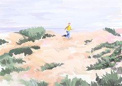 Child running in dunes (Plumkin1) Tags: summer art beach digital painting sand child dunes creative running artrage plumkin1 plumovelgonne