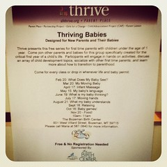 "Kicking off ""Thriving Babies"" serious with ""What can my baby see?"" Hosted by the Parent Place from Thrive...10-11am ........next one will be March 20  10-11: ""My moving baby!""  Spread the word! • <a style=""font-size:0.8em;"" href=""http://www.flickr.com/photos/72161505@N07/15972481113/"" target=""_blank"">View on Flickr</a>"