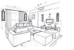 interior design (Artist_Essam) Tags: art home pencil ink paper design living sketch interior room sofa