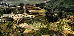 Little village encircled by rice terraces ….. (Kat-i) Tags: dorf village vietnam kati sapa laocai ricecultivation terracedfields reisterrassen reisanbau canondigitalixus950is