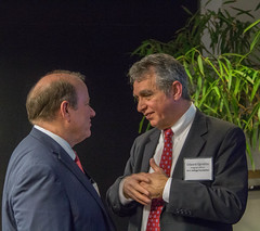 (From left) Detroit Mayor Mike Duggan and Ed Egnatios of the W.K. Kellogg Foundation converse at the kickoff for Duggan's Grow Detroit's Young Talent initiative.