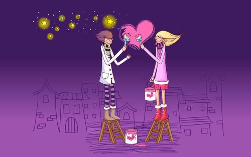 Romantic Cartoon Couple Cute Love Hd Wallpaper Stylish Hd