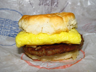 Close Up of McDonald's Sausage Egg Biscuit