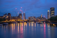 Into the Lights (martyndt) Tags: city bridge london thames night reflections river lights cityscape lambeth