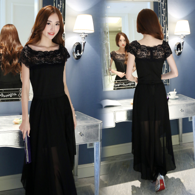 Korea purchasing women's Korean chiffon black dresses even