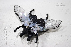 Moonligt couture brooch or pendant (neringaci) Tags: flowers blue summer woman inspiration black macro green art wool girl fashion felted silver bug grey design fly beads wings women crystals gallery pin foto purple legs designer handmade unique sewing small brooch beetle silk craft insects indoor jewellery textile fabric fantasy gift mohair moonlight medium pearl swarovski sequins stile couture embroidered beaded multicolor multicolour organza glassbeads seedbeads neringa grassgreen lampworkbeads leyers outfitt neringaci