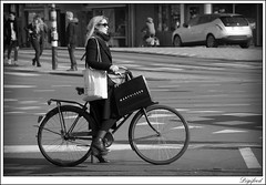 Mart Visser Haute Couture op de fiets. (Digifred. Thx for > 4 000 000 views.) Tags: street city blackandwhite woman holland netherlands amsterdam bike blackwhite iamsterdam nederland streetphotography canals hautecouture mode grachten fiets straat 2016 elegantie digifred pentaxk3