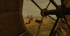 The Far Away 2 (Hunter_Kingsbury) Tags: windmill train flying midwest wheat engine secondlife locomotive telephonepoles summerdress addams cowboyboots wheatfield chillie maitreya amradio thefaraway argrace zikiquesti hunterkingsbury