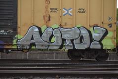 AUTO! (TheGraffitiHunters) Tags: auto street white green art car train silver graffiti colorful paint box tracks spray chrome boxcar freight blakc benched benching