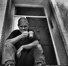 "Somedays are just so long ! (CJS*64 ""Man with a camera"") Tags: blackandwhite bw building me coffee monochrome mobile person mono blackwhite long break tea drink samsung galaxy builders rest build buildingsite builder longday whiteblack selfi brewtime"