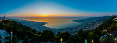Jounieh Bay Large Pano, Lebanon (Paul Saad (( ON/OFF ))) Tags: sunset sea sky lebanon mountain church colors weather sunrise nikon exposure colours pano panoramic hdr  jounieh   infiniteexposure