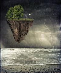 DieHardGolfer (clabudak) Tags: trees sea art beach rain golf landscape waves surreal floating lightning golfer