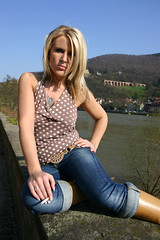 Mandy 06 (The Booted Cat) Tags: woman sexy girl model boots cigarette smoking jeans blonde demin