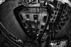 Chinatown Alley (Brandon Godfrey) Tags: old nyc newyorkcity urban blackandwhite bw usa ny newyork brick monochrome alley chinatown unitedstates manhattan unitedstatesofamerica lowereastside dirty fisheye alleyway fireescape eastcoast