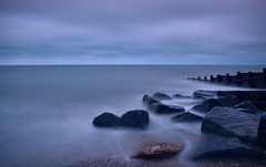 Calm Seas and Dark Skies...... (hall1705) Tags: longexposure sea sky seascape beach nature water weather clouds seaside rocks westsussex shore felpham d3200