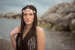 The Dreamer (mirkomanzofotografo) Tags: mare mani occhi sguardo sole rocce spiaggia corpo oceano ragazza onde sabbia nudo capelli seno modella trecce scoli