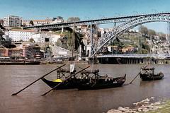 Os Rabelos no Douro (Z Carlos) Tags: bridge river boat barco ponte digitalpainting porto riodouro rabelo pinturadigital