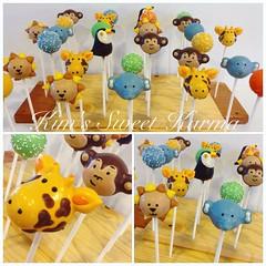 Jungle animal cake pops (Kim's Sweet Karma) Tags: elephant animals monkey toucan lion safari jungle giraffe cakepops kimssweetkarma