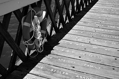 Footnotes (cybertect) Tags: monochrome word pier blackwhite lifebelt name isleofwight yarmouth canonfd50mmf14 sonya7