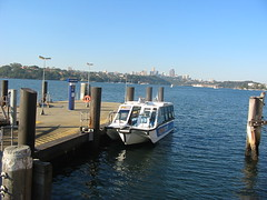 Cockatoo Island Ferry Wharf and water taxi. (NevDev (Nev)) Tags: sea industry water boat marine industrial waterfront outdoor sydney australia vessel pylon maritime wharf nsw newsouthwales shipyard watertaxi cockatooisland industrialsite portjackson