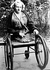 No legs - 1930s (jackcast2015) Tags: handicapped disabled disabledwoman cripledwoman leglesswoman hipdisarticulation wheelchair amputee legamputee crutches