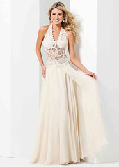 2015 Halter Neck Lace Applique Sheer Bodice Champagne Prom Dress (miyadresses2016) Tags: sheathdress longpromdress longformaldress lacedress floraldress straplessdress