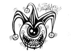 graffiti sticker  one eye clown joker (marcomacedo3) Tags: cholowiz graffiti sticker nazer26 mtsk paste stamp slaps collabs spraycan trade