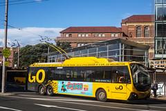Lambton Quay - Wellington Station (andrewsurgenor) Tags: city newzealand urban bus buses yellow electric busse transport transit nz wellington publictransport streetscenes omnibus trolleybus obus trolleybuses citytransport trackless nzbus gowellington