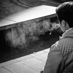 Smoke (CorH) Tags: street city people urban blackandwhite bw white black monochrome blackwhite belgium belgie candid streetphotography antwerpen straatfotografie corh