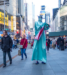 Happy 4th (UrbanphotoZ) Tags: plaza nyc newyorkcity ny newyork manhattan americanflag shades tourists led midtown timessquare pedestrians coloredlights crown westside statueofliberty stilts thelionking ladyliberty extracrown