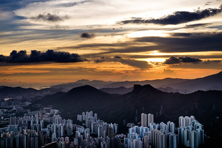 Looking into the Lion rock with sunset from Kowloon peak