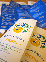 Uma Loucura Menus (Cahoots Design) Tags: ocean summer brazil food water illustration menu print ma fun happy cuisine aquarium restaurant salad dish natural market provincetown capecod massachusetts traditional uma culture deck chef snack pastry flavio brazilian dishes olympics tradition pastries brand salada savory salgadinhos doces branding banding bebidas entree cahoots loucura tagline printdesign menudesign printmaterials umaloucura cahootsdesign