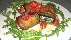 AUBERGINE ROLLS WITH SPINACH, RICOTTA, WILD GARLIC AND CHESTNUT MUSHROOMS (YoungAchievers) Tags: tomatoes aubergine ricotta spinach wildgarlic