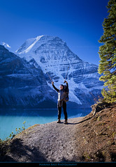 *** Mt. Robson selfie *** (Marina Bass (back in NY)) Tags: ca blue red lake snow canada mountains ice nature trekking landscape rockies happy bc hiking britishcolumbia turquoise north sunny hike adventure mount climbing trail mountaineering northamerica destination robson hiker glacial canadianrockies berglake mtrobson mountainous glaciallake worldbest