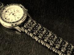 'Solomon Ladder' watchband/bracelet (Stormdrane) Tags: black green expedition analog watch knot diamond bracelet timex edc reefgear everydaycarry lanyard watchband paracord 550cord parachutecord solomonbar stormdrane cobrastitch portuguesesinnet