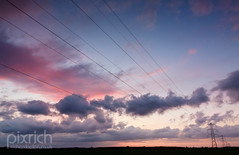 Wired Sunset (pixrich) Tags: landscape bluesky wires sunsetglow wired pylons pinkclouds aftersunset