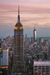 The Empire State Building and One World Trade Center (Peter Alfred Hess) Tags: new york city light sunset building night evening cityscape manhattan