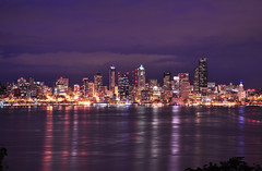 Seattle skyline at night (Surrealplaces) Tags: seattle skyline night washington skyscrapers cloudy