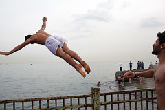 Jump - Istanbul, Turkey (Maciej Dakowicz) Tags: sea water turkey jump streetphotography istanbul workshop kumkapi kennedyavenue