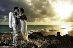 Love onthe Rocks (PrawnO) Tags: sunset beach rocks barbados bridegroom