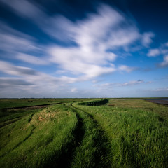 Paglesham Path (Scott Baldock Photography) Tags: park blue summer england sky motion colour green grass clouds square intense nikon long exposure bright path sunny crop format essex southendonsea paglesham scottbaldockphotography