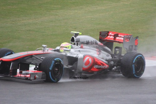 Sergio Perez in his McLaren at FP1 for the 2013 British Grand Prix