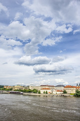 Vlatava river, Prague and clouds (patiigraphy) Tags: city trip blue sky water clouds river europe day cityscape prague pentax praha praga czechrepublik patii czechy vlatava wriggler pentaxk5 ringexcellence patiigraphy