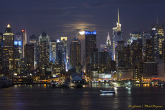 Midtown Backlit with moon light (Photosequence) Tags: street new city nyc newyorkcity bridge usa moon newyork reflection skyline brooklyn canon river reflex downtown cityscape unitedstates manhattan nj midtown uptown timessquare brooklynbridge eastriver jersey newyorkskyline empirestate astronomy hudson gotham northeast bigapple eastcoast 42nd northjersey theatredistrict photosequence supermoon faizanphotography