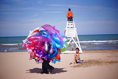 Beach Creature (drew*in*chicago) Tags: blue sky lake chicago beach water balloons toys lifeguard fosterbeach inflate inflateables 2013